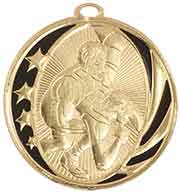 "2"" Bright Gold Wrestling Laserable MidNite Star Medal"