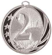 "2"" Bright Silver 2nd Place Laserable MidNite Star Medal"
