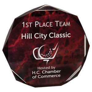 "6"" Red Marble Octagon Acrylic Award"