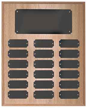 18 Plate Oak Finish Completed Perpetual Plaque