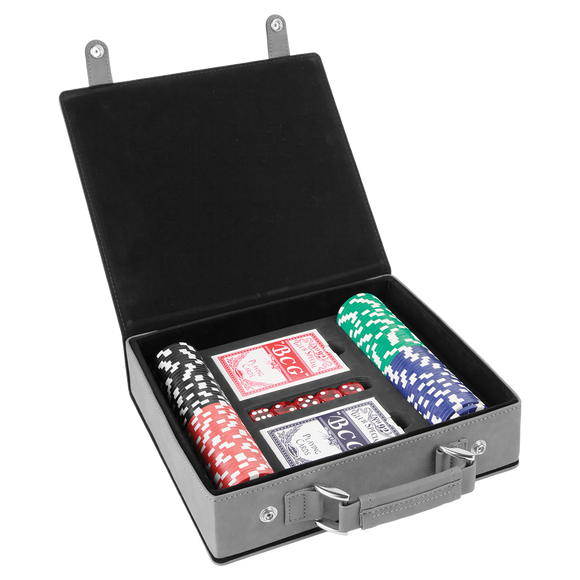 Gray/Black Laserable Leatherette 100 Chip Poker Set