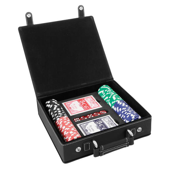 Black/Silver Laserable Leatherette 100 Chip Poker Set