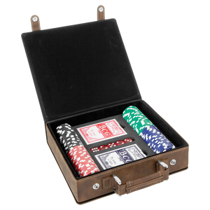 Rustic/Gold Laserable Leatherette 100 Chip Poker Set