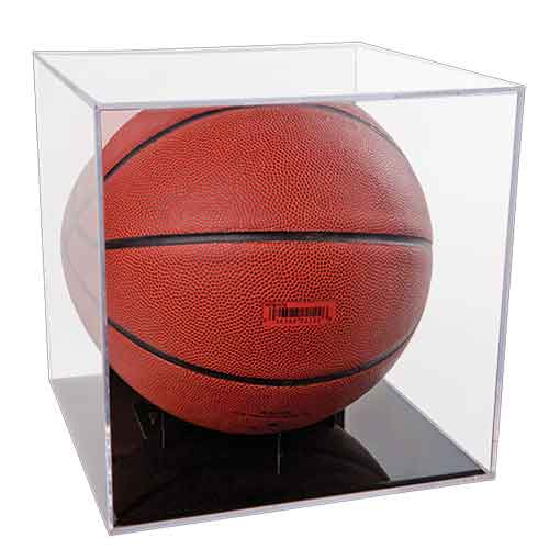 Clear Basketball/Soccer BallQube Display Case with Grandstand Holder