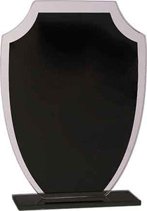 "7 1/4"" Black Shield Reflection Glass Award"