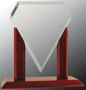 "10 1/4"" Royal Marquis Diamond Clear Glass with Rosewood Piano Finish Base"