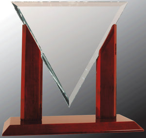 "10 1/4"" Diamond Triangle Clear Glass with Rosewood Piano Finish Base"
