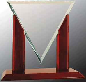 "10 1/4"" Diamond Triangle Jade Glass with Rosewood Piano Finish Base"