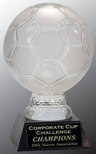 "12"" Glass Soccer Ball with Marble Base"