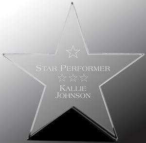 "7 3/4"" x 7 1/2"" Clear Glass Star on Black Base"