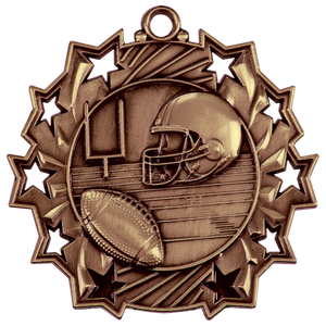 "2 1/4"" Antique Bronze Football Ten Star Medal"