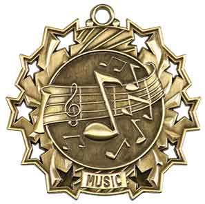 "2 1/4"" Antique Gold Music Ten Star Medal"