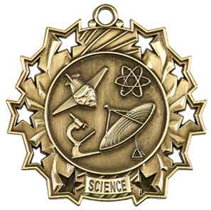 "2 1/4"" Antique Gold Science Ten Star Medal"