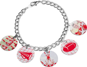 "7.25"" Unisub Sublimatable Charm Bracelet with 5 Bales & 5 Circle Charms"