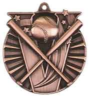 "2"" Antique Bronze Baseball/Softball Victory Medal"