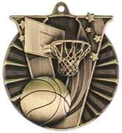 "2"" Antique Gold Basketball Victory Medal"