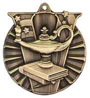 "2"" Antique Gold Lamp of Knowledge Victory Medal"