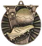 "2"" Antique Gold Soccer Victory Medal"