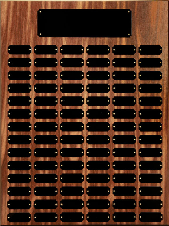 84 Black Plate Walnut Finish Completed Perpetual Plaque