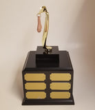 Copy of FANTASY FOOTBALL LAST PLACE SACKO TROPHY on BASE with Gold Plates- FREE ENGRAVING