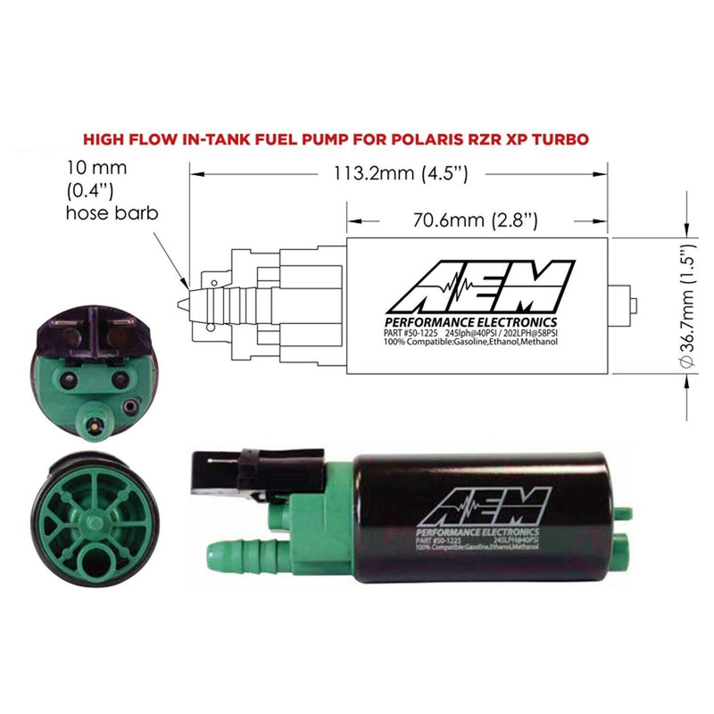 E85 Compatible Fuel Pump for 2016 up Polaris RZR Turbo Delivers 2x the Flow, 44% More Pressure