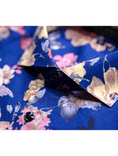 Pink Beige Large Floral Royal Blue Shirt