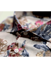 Pink Yellow Large Floral Beige Shirt