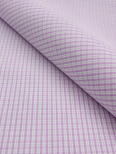 Premium Shirt Fabric - Super 60s - Light Pink White Double Check