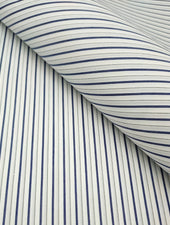 Premium Shirt Fabric - Super 80s - Dual Dark Blue & Black Double Stripe White