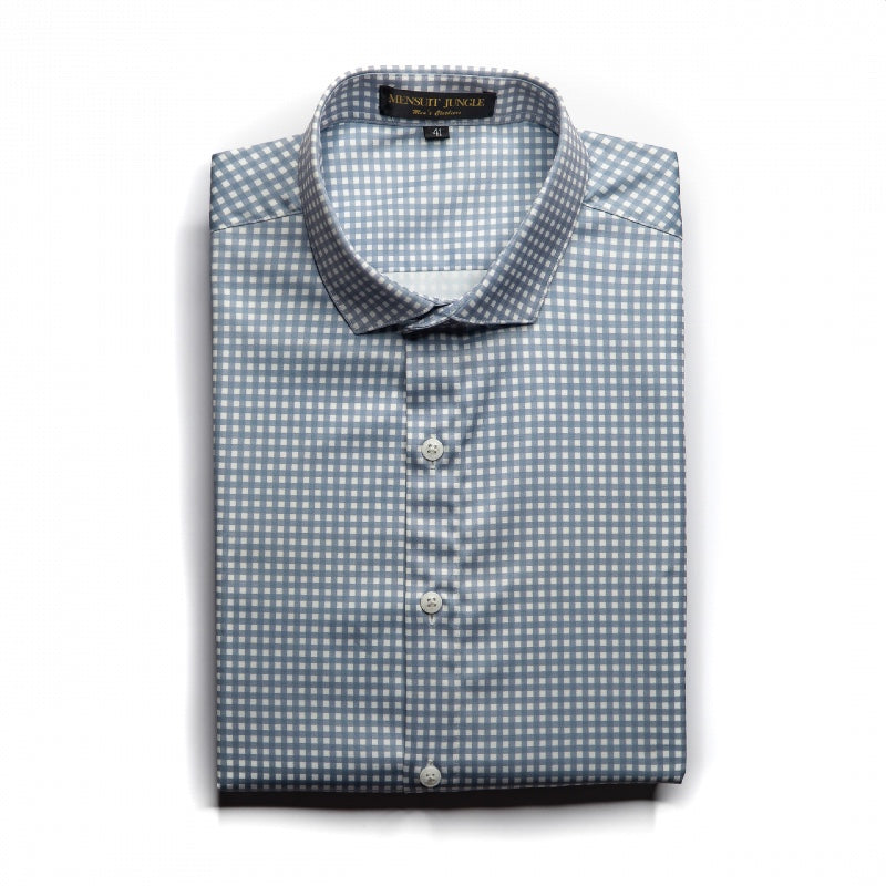 Grey Small Checkered Satin Shirt
