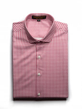 Pink Small Checkered Satin Shirt