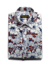 Red White Floral Shirt