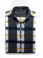 Black Yellow Checkered White Satin Shirt