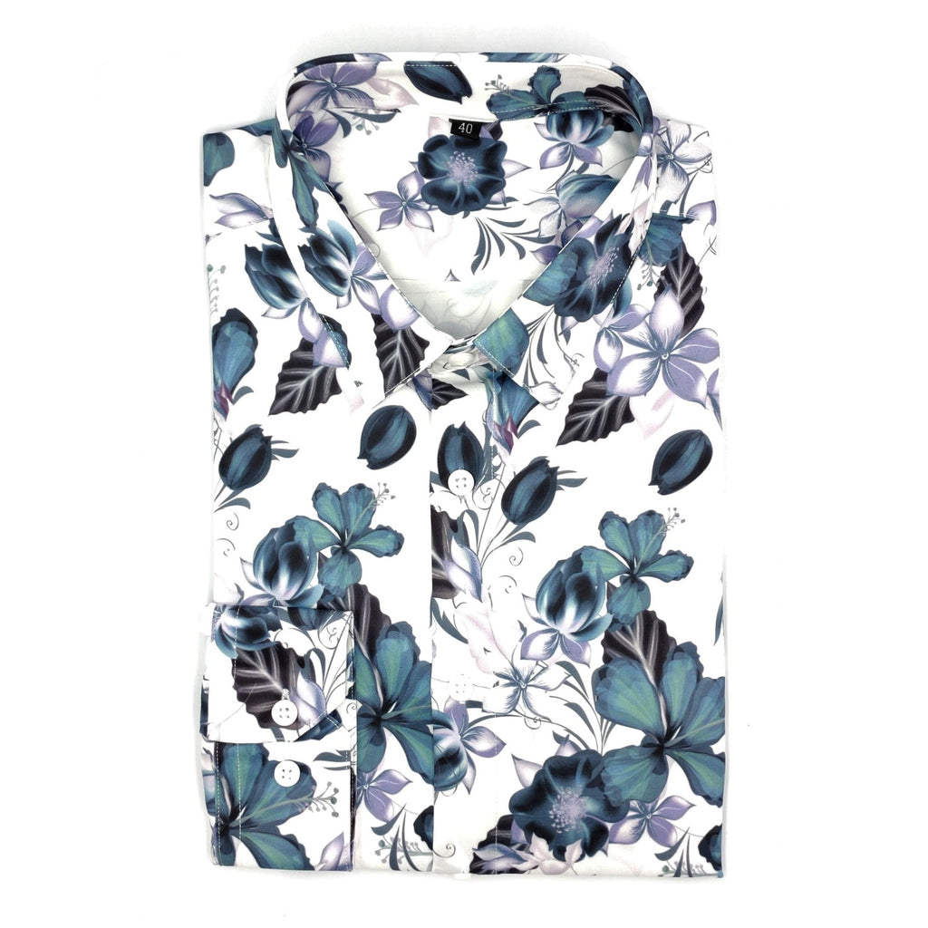Teal Purple Floral White Satin Shirt