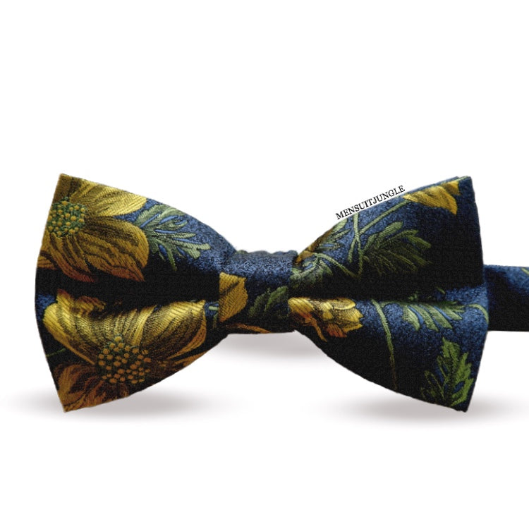Yellow Floral Jacquard Bow Tie