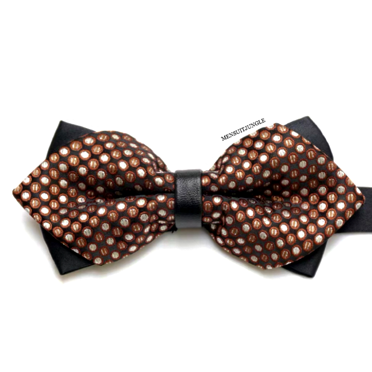 Ivory Pin Dots Diamond Brown Bow Tie
