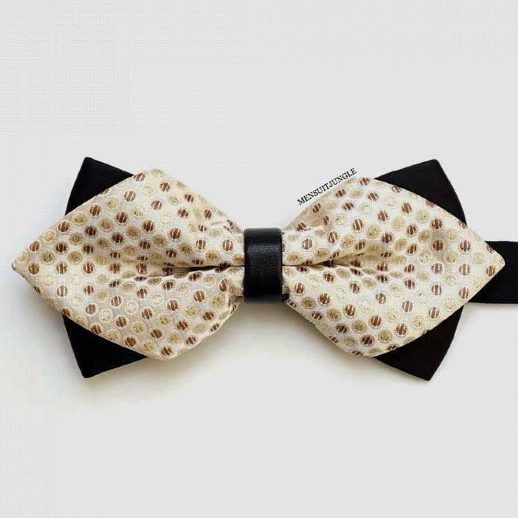 Brown Pin Dots Diamond Ivory Bow Tie