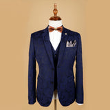 Dark Blue Floral Jacquard Notch Lapel Tuxedo