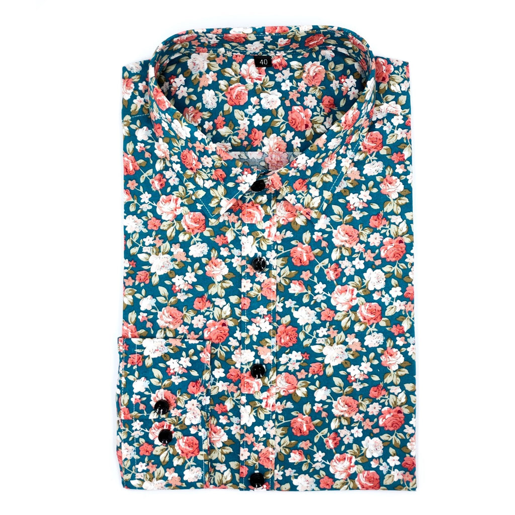 White Pink Small Floral Deep Jungle Green Shirt
