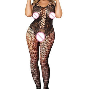 Plus Size Fishnet Sexy Lingerie Baby Doll Erotic Lingerie Sexy Underwear Teddy Lenceria Open Crotch Erotic Costumes Sex Clothes