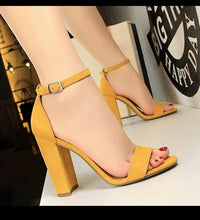 Load image into Gallery viewer, Yellow Block Heels