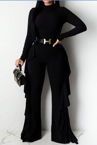 Black side ruffle jumpsuit