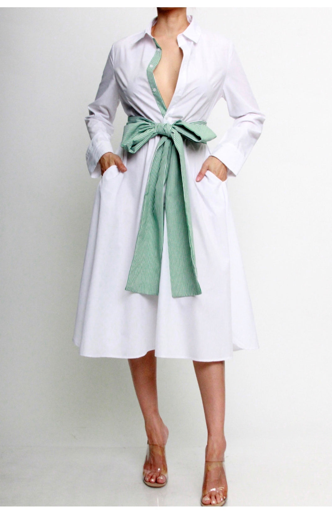 Shirt dress with Green tie belt