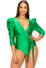 Load image into Gallery viewer, PUFF SLEEVE SURPLICE BODYSUIT