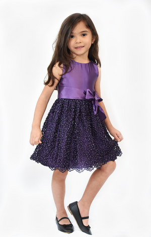 Brunette Girl Wearing Purple Party Dress
