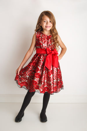 Bella Red Sequin Embellished Party Dress