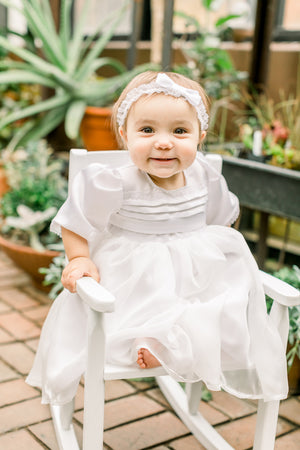 Camila White Tulle Baptism Dress