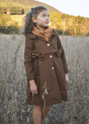 Carla Brown Winter Coat with Bows