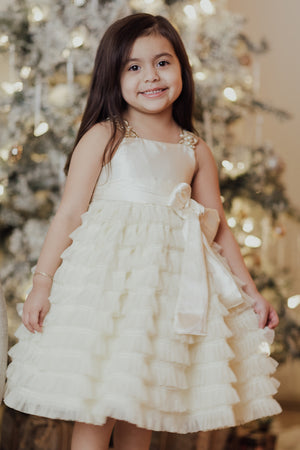 Catherine Ivory Ruffled Flower Girl Dress