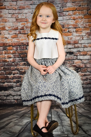 Red Headed Girl Wearing Blue Floral Dress
